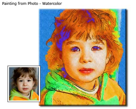 Children Portrait Watercolor painting from photo to canvas