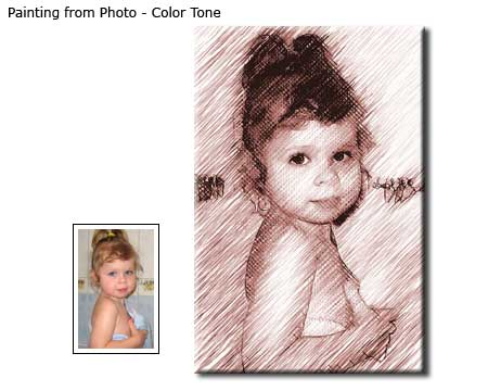 Color Tone Children Portrait drawing from photo to canvas