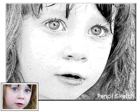 Pencil Sketch Children Portrait