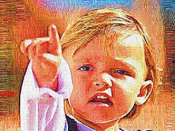 Custom children portrait painting from photo