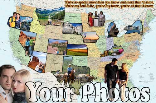Framed travel USA map photomontage, organize all those trip photos