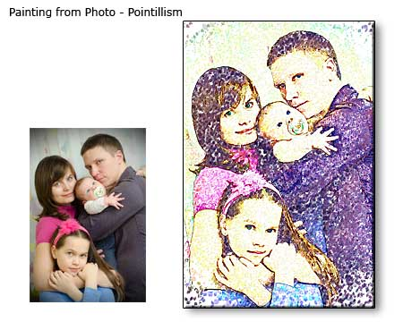 Pointillism Painting Family Portrait