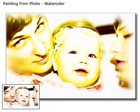 Watercolor Painting Family Portrait from photo to canvas