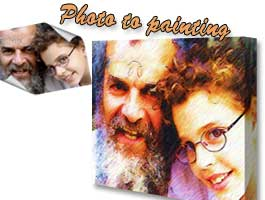Grandfather and me photo to canvas painting