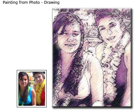 Drawing Friends Portrait from photo to canvas