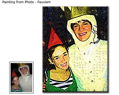 Fauvism painting Portraits of Friends from photo to canvas