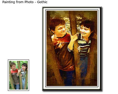 Gothic painting Friends Portrait from photo to canvas