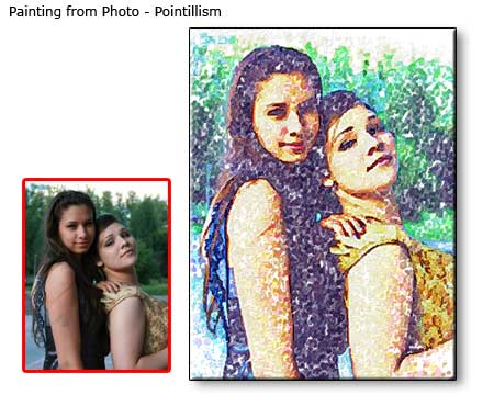 Pointillism painting Friends Portrait