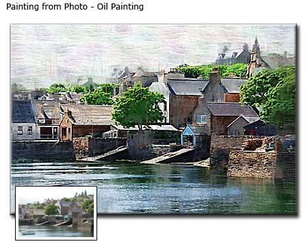 Village river oil painting