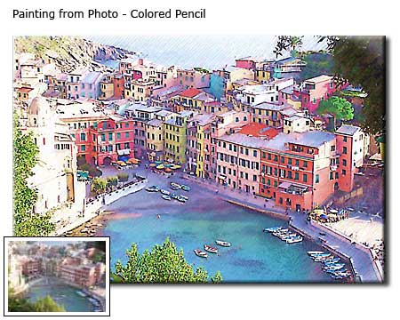 Custom Landscape Colored Pencil Drawing from photo to canvas