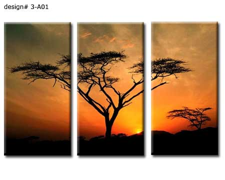 Set of 3 tree canvas panels