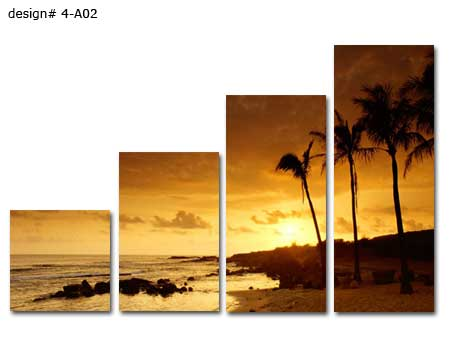 4 panel wall sectional group of canvases set