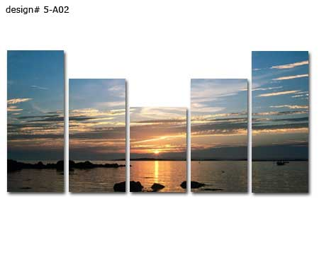 5 panels sunset canvas art print