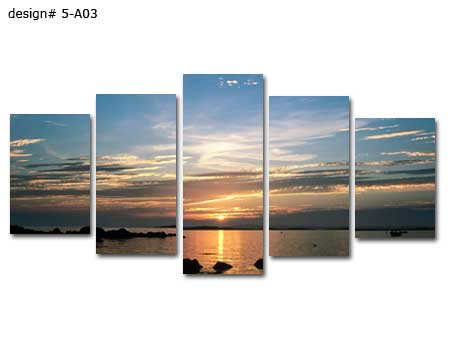 Framed big canvas print 5 panel tropical beach sunset