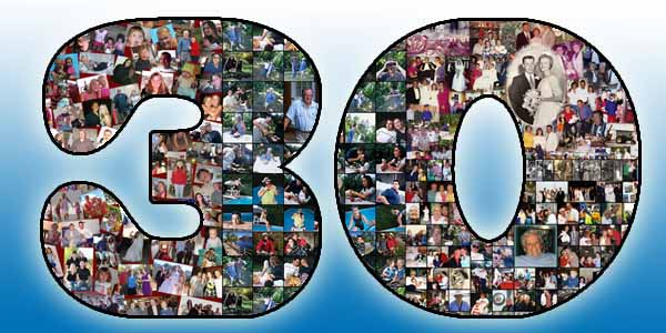 30 picture collage for the husbands 30th birthday, good gift ideas for 31, 32, 33, 34, 35 wife, boyfriend and girlfriend too