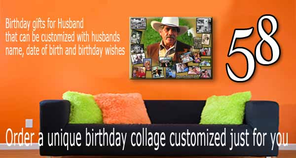 DIY 58th Birthday Gift for Husband B-day Image Design for 58 year old hubby