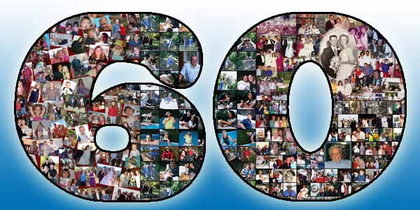 Handmade 60th birthday collage gift for husband, ideas for wife, father and mother, 1234567890