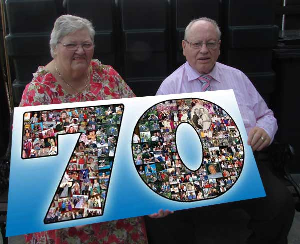 Special 70th Birthday collage for 70 year old husband, 61x62x63x64x65x66x67x68x69 wife