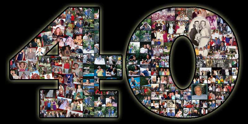 Humorous 40 picture collage for wife�s 40th birthday, 41, 42, 43, 44