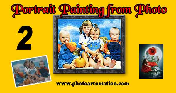 Children photo to custom portrait painting