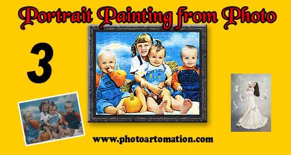 Kids oil portrait painting, Custom size canvas