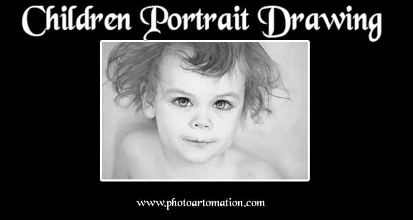 Custom children portraits drawing, painting from photo