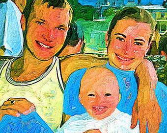 Photo art gift for parents birthday, portrait painting