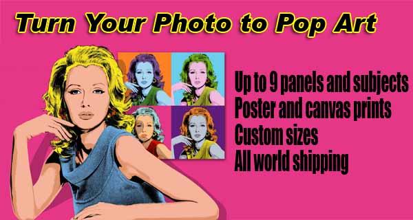 Pop art photo gift ideas, 2-, 3-, 4, 5-, 6-panels canvas prints