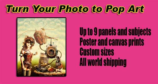 Personalized Pop art picture, DIY, 2-, 3-, 4, 5-, 6- canvas panels