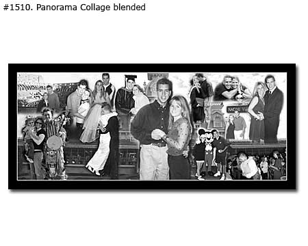 Black and white panoramic collage from family photos