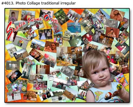 Family picture collage, First baby birthday, turn one