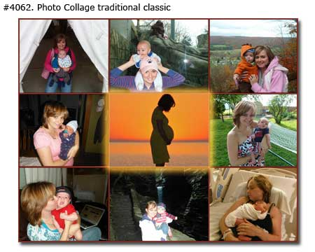 Mom and newborn baby boy collage