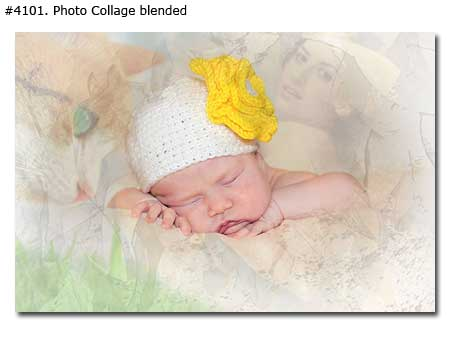 Mother and slipping baby girl photo collage