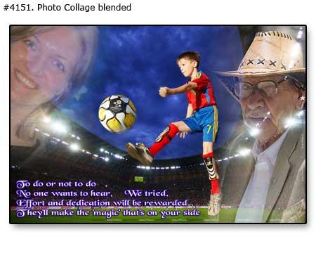 Soccer boy, mom dad collage children