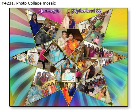Happy Indian Family collage mosaic, husband, wife, children 4231