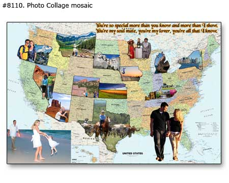 Photo Map Collage travel, vacation