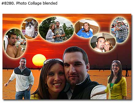 Photo collage with love wishes and pictures of you two