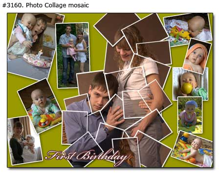 First birthday collage mosaic