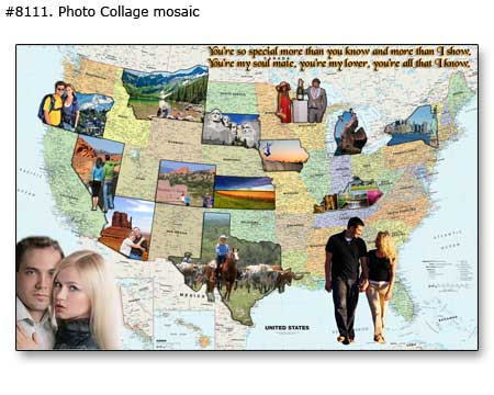 Photos to map collage, online making, free preview