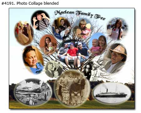 Family tree collage blended