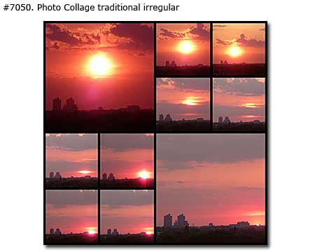 Landscape of Urban Sunset Collage traditional