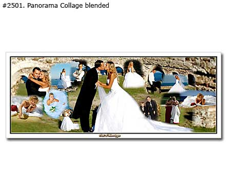 Wedding panoramic collage blended