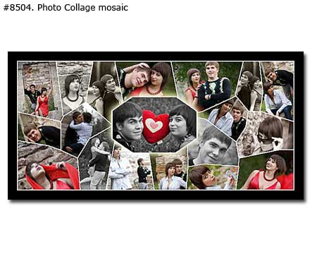 Couple panoramic photo collage design mosaic
