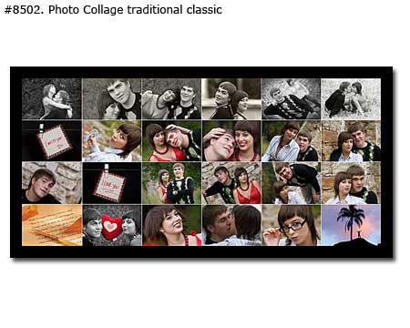 Panoramic photo collage from couple pictures traditional classic