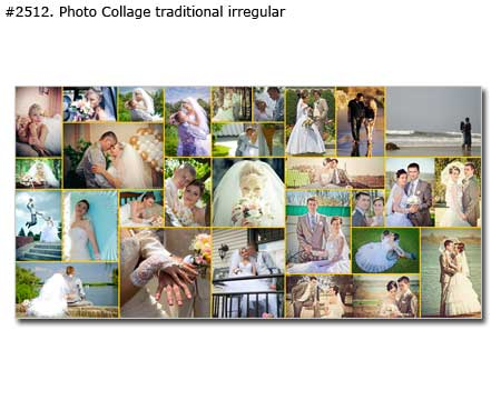 Personalized wedding panorama photomontage traditional irregular
