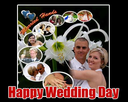 Picture collage of wedding photos