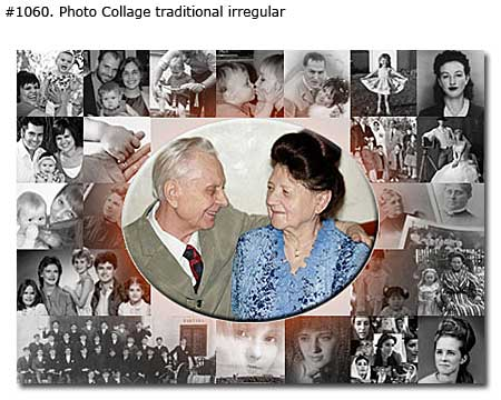 Photo collage design traditional irregular - 42 photos
