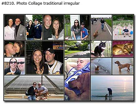 Photo collage design traditional irregular - 63 photos