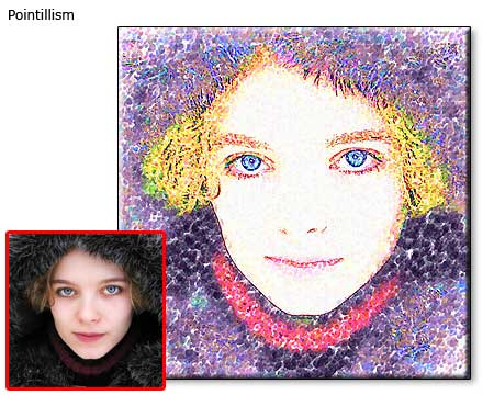 Custom Pointillism painting Self Portrait