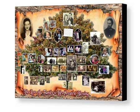 Custom Board Mounting of family tree collage